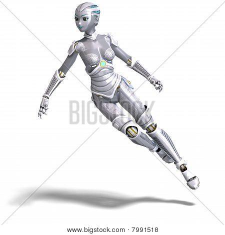 female sexy metallic robot