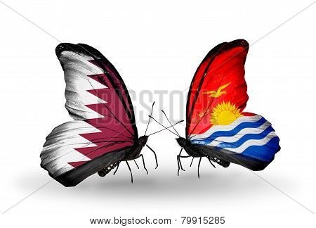 Two Butterflies With Flags On Wings As Symbol Of Relations Qatar And  Kiribati