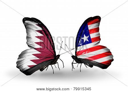 Two Butterflies With Flags On Wings As Symbol Of Relations Qatar And Liberia