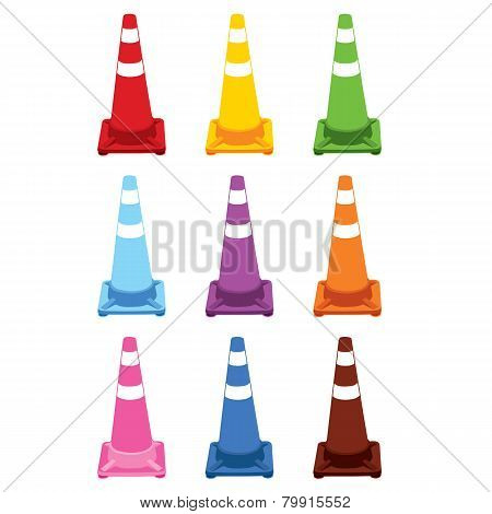 Collection of different color traffic cones.vector illustration