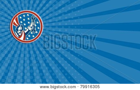 Business Card American Patriot Holding Spanner Circle Retro