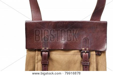 Leather and fabric men fashion bag on white background