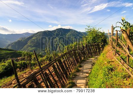 Chinese mountains and stone pathway