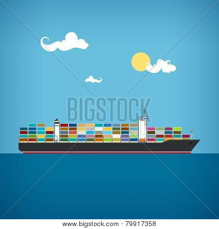 Cargo Container Ship, Vector Illustration