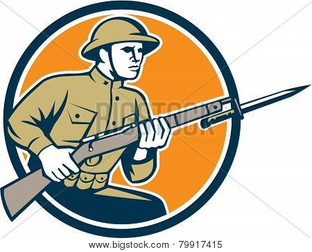 World War One Soldier American Retro Circle
