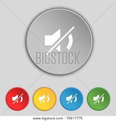 Mute Speaker Sign Icon. Sound Symbol. Set Colourful Buttons. Vector