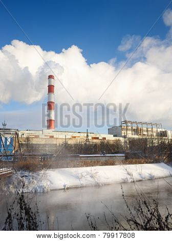 winter view of the thermal power plant