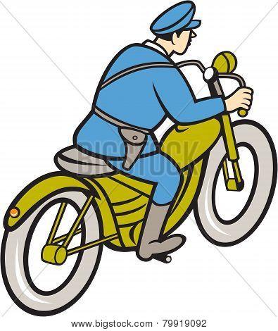 Highway Patrol Policeman Riding Motorbike Cartoon