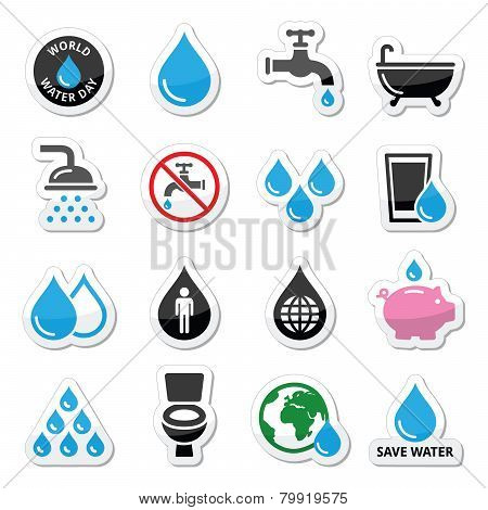 World Water Day icons - ecology, green concept
