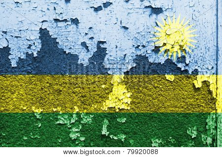 Rwanda Flag painted on concrete wall