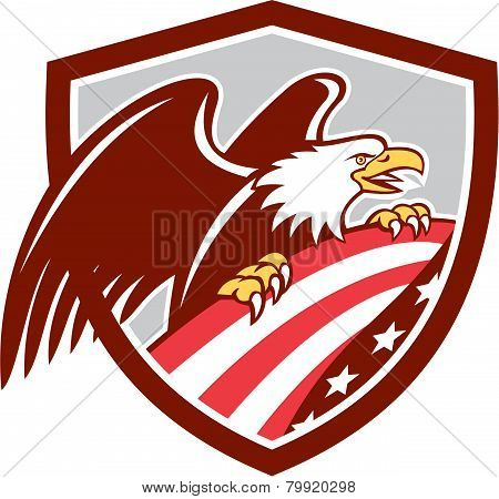 American Bald Eagle Clutching Usa Flag Shield Retro