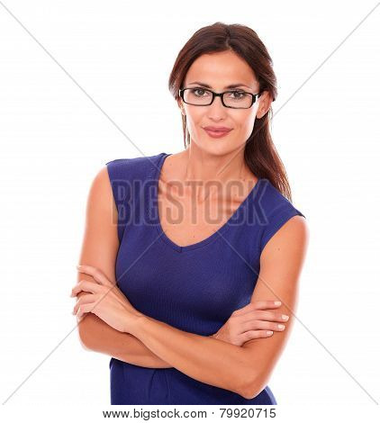 Attractive Female With Spectacles Looking At You
