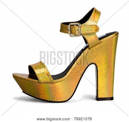 Elegant Metallic Gold High Heel Sandal
