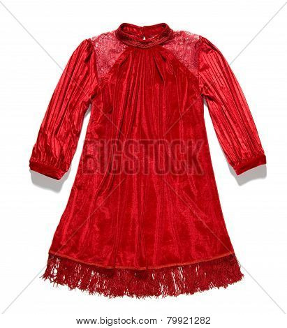 Elegant Red Dress With Long Sleeves