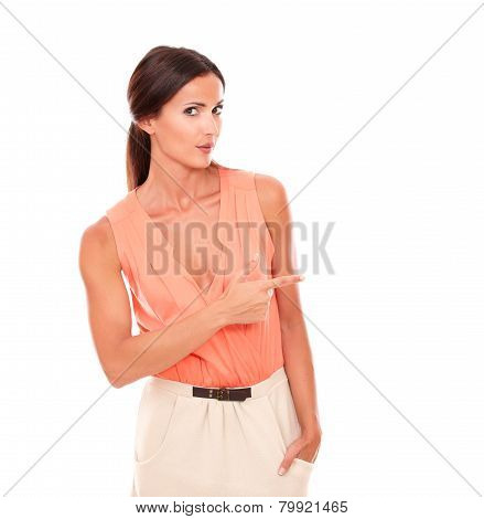 Hispanic Lady With Fingers Gesturing Pointing