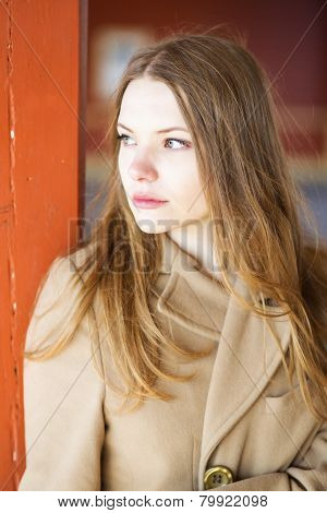 Woman In Coat Feel Lonely At Station