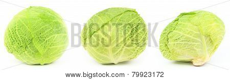 Three Sides Of Green Cabbage Head, Isolated On White