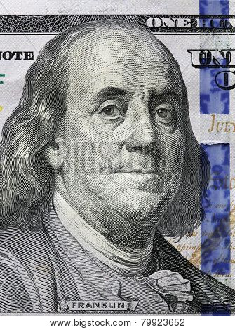 One Hundred Dollars. Benjamin Franklin portrait. USD, The United States currency, money concept