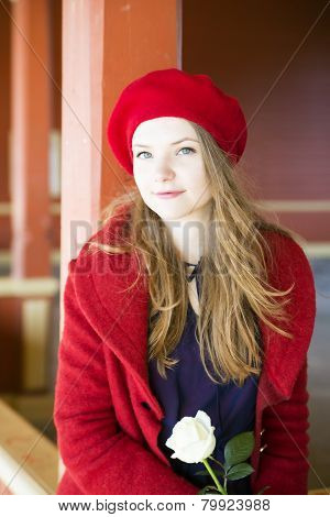 Woman With Bright Skin At Local Station