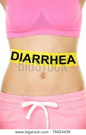 Diarrhea and food poisoning concept. DIARRHEA text written on female abdomen stomach.