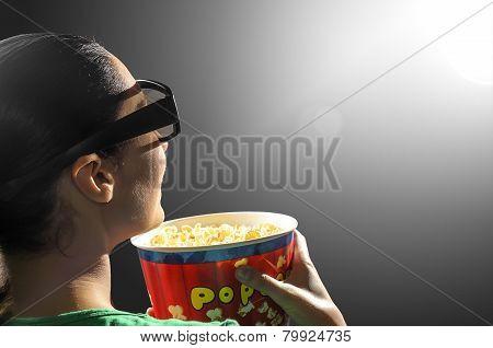 Girl Watching 3D Cinema.