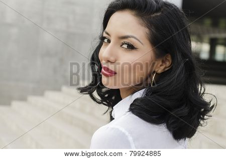 Beautiful woman turning head