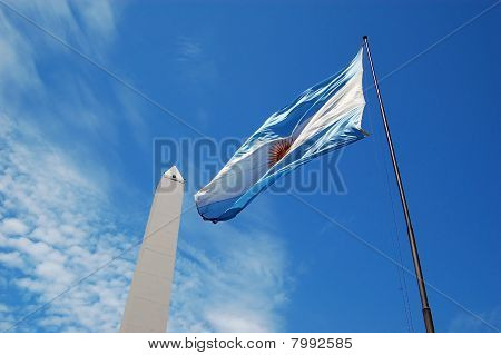 Flag of Argentina and Obelisk