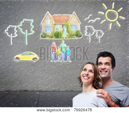Couple thinking about new home and car. Mortgage background.