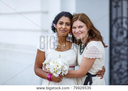 Beautiful Happy Indian Bride And Her Girl  Friend
