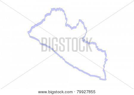 Map of Liberia. 3d