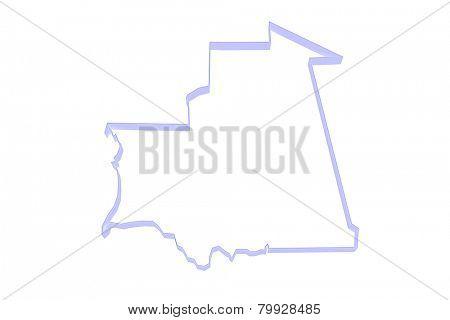 Map of Mauritania. 3d