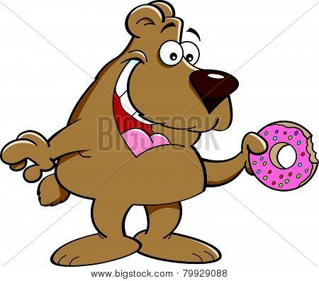 Cartoon bear eating a doughnut.