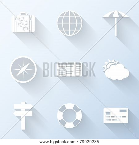 Flat Travel Icons. Vector Illustration