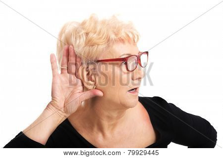 Senior woman overhears a conversation