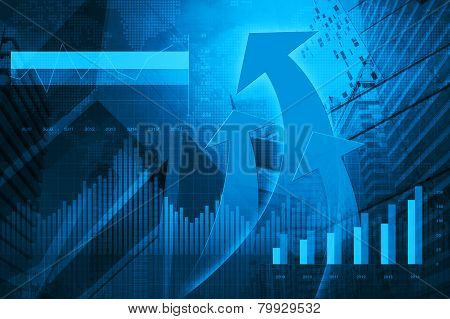 Financial And Business Chart And Graphs With Arrow Head