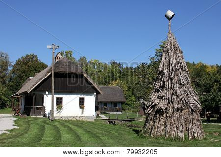 KUMROVEC, CROATIA - MAY 17, 2013: Idyllic village scene in Croatian countryside. Kumrovec historical village, Zagorje area of Croatia. Motherland of Josip Broz Tito, 1st President of Yugoslavia
