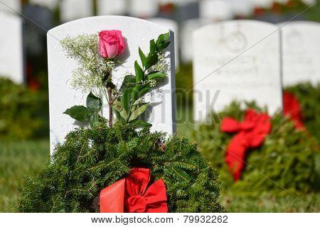 Washington DC - Arlington National Cemetery gravestones with Christmas wreaths