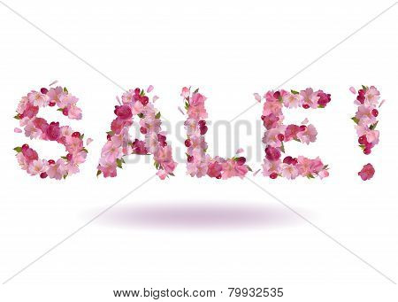 Vector inscription Sale from cherry flowers