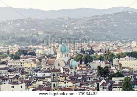Panoramic view of Florence with Synagogue