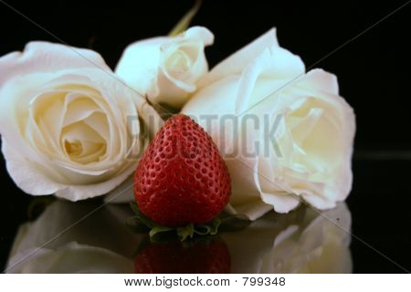 Roses and a strawberry