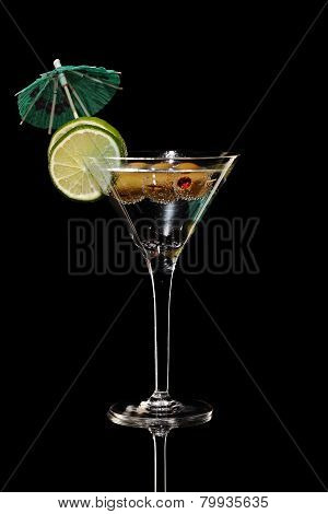 Martini, fresh Coctail isolated on black