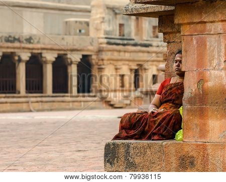 Thanjavour, India - February 14: An Unidentified Indian Woman In National Costumes Sits In Brihadees