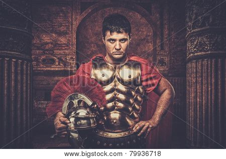 Roman legionary soldier in front of ancient building