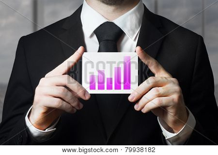 Businessman Holding Sign Purple Bar Diagram