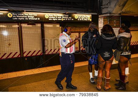 MTA worker chats with
