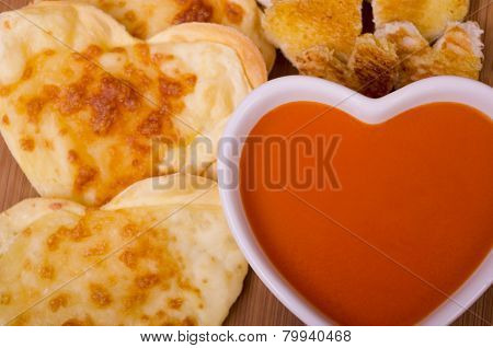 Tomato Soup, Cheese Biscuits and Croutons