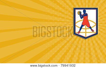 Business Card Basketball Player Passing Ball Shield Retro