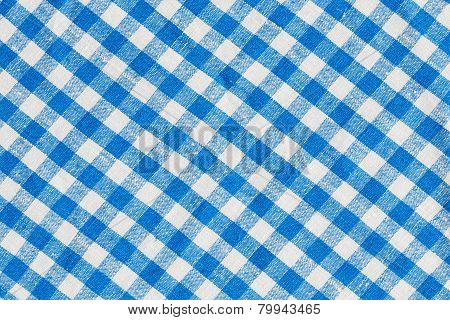 Natural Plaid Fabric Abstract Background Texture, Blue And White