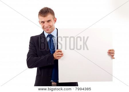 Man Showing A Blank Board