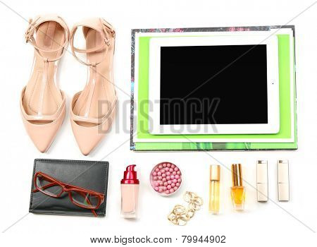 Fashion blogger concept.  essentials objects in a fashion blogger. Isolated on white